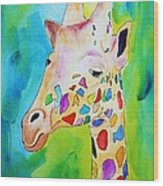 Giraffe Portrait Wood Print