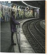 Girl In Station Wood Print