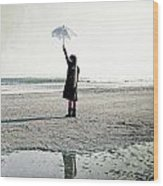 Girl On The Beach With Parasol Wood Print by Joana Kruse