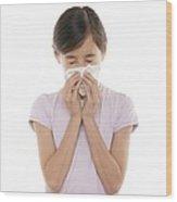 Girl Sneezing Wood Print