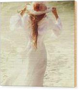 Girl With Sun Hat Wood Print