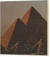 Giza Pyramids From Left Kings Menkure Wood Print by Kenneth Garrett