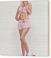 Glamorous Girl On Roller Skates Wood Print