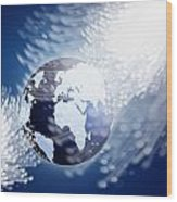 Globe With Fiber Optics Wood Print
