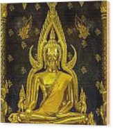 Golden Buddha  Wood Print by Anek Suwannaphoom