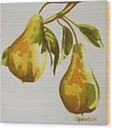 Golden Pears Wood Print