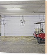 Golf Cart Parking Garage Wood Print by Skip Nall