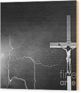 Good Friday - Crucifixion Of Jesus Bw Wood Print