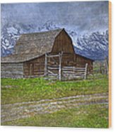 Grand Teton Iconic Mormon Barn Fence Spring Storm Clouds Wood Print