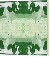 Green Cows Wood Print