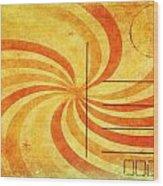 Grunge Ray On Old Postcard Wood Print