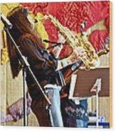 Harjo On Sax Wood Print