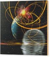 Head In Space Wood Print by Mehau Kulyk