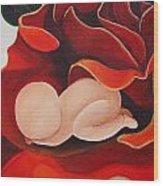 Healing Painting Baby Sleeping In A Rose Wood Print