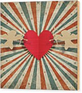 Heart And Cupid With Ray Background Wood Print by Setsiri Silapasuwanchai