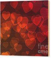 Hearts Background Wood Print
