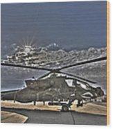 High Dynamic Range Photo Of An  Ah-64d Wood Print