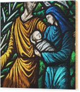Holy Family Stained Glass Wood Print