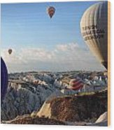 Hot Air Balloons Over Cappadocia Wood Print