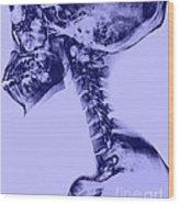 Human Skull And Spine Wood Print