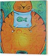 Hungry Cat Wood Print by Jennifer Alvarez