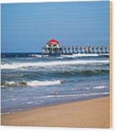 Huntington Beach Pier In Orange County California Wood Print by Paul Velgos