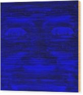 In Your Face In Negative Blue Wood Print