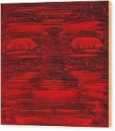In Your Face In Negative Red Wood Print