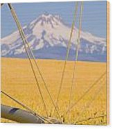 Irrigation Pipe In Wheat Field With Wood Print