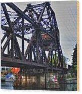 Jack-knife Bridge At Erie Canal Harbor Wood Print