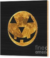 Jack-o-lantern Moon Wood Print