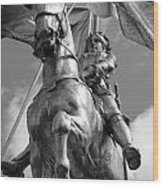 Joan Of Arc Statue French Quarter New Orleans Black And White Wood Print