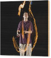 Juggling Fire Wood Print