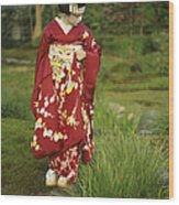 Kimono-clad Geisha In A Park Wood Print by Justin Guariglia