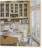 Kitchen Cabinets And Table Wood Print by Andersen Ross