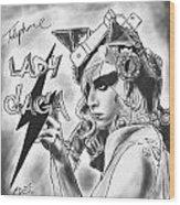 Lady Gaga Telephone Drawing Wood Print by Kenal Louis