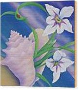 Ladybug And Iris Wood Print