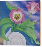 Ladybug And Tulips Wood Print