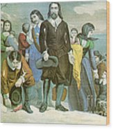 Landing Of The Pilgrims At Plymouth Wood Print