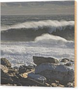 Large Waves Near Pemaquid Point On The Coast Of Maine Wood Print