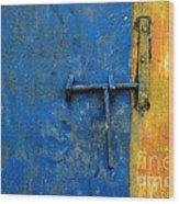 Latch The Door On The Faded Blue And Yellow Wall Wood Print