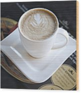 Latte With A Leaf Design Wood Print by Jaak Nilson
