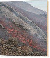 Lava Flow During Eruption Of Mount Etna Wood Print