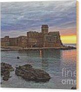Le Castella Castle Wood Print by Gualtiero Boffi