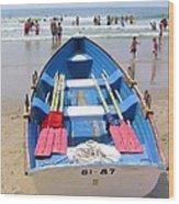 Lifeguard Boat At Ocean City Boardwalk New Jersey Wood Print