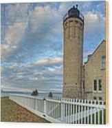 Lighthouse At Mackinac Wood Print