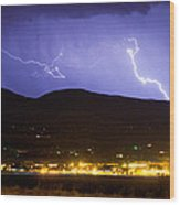 Lightning Striking Over Ibm Boulder Co 2 Wood Print