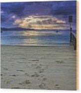 Little Beach Sunset Wood Print