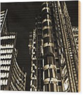 Lloyds Building London In Gold Wood Print