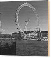 London Skyline Edf Eye Bw Wood Print